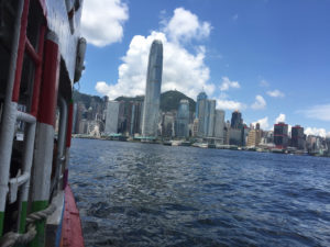 Taking a ride on the famous Star Ferry