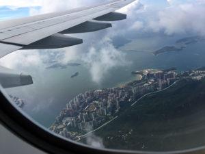 Flying into Hong Kong airport