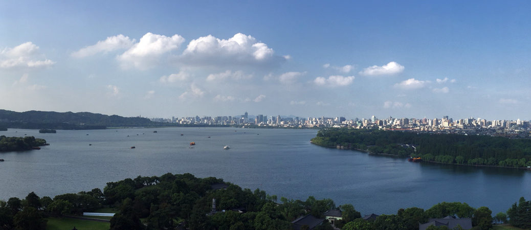 Hangzhou West Lake pano taken from Leifeng Pagoda