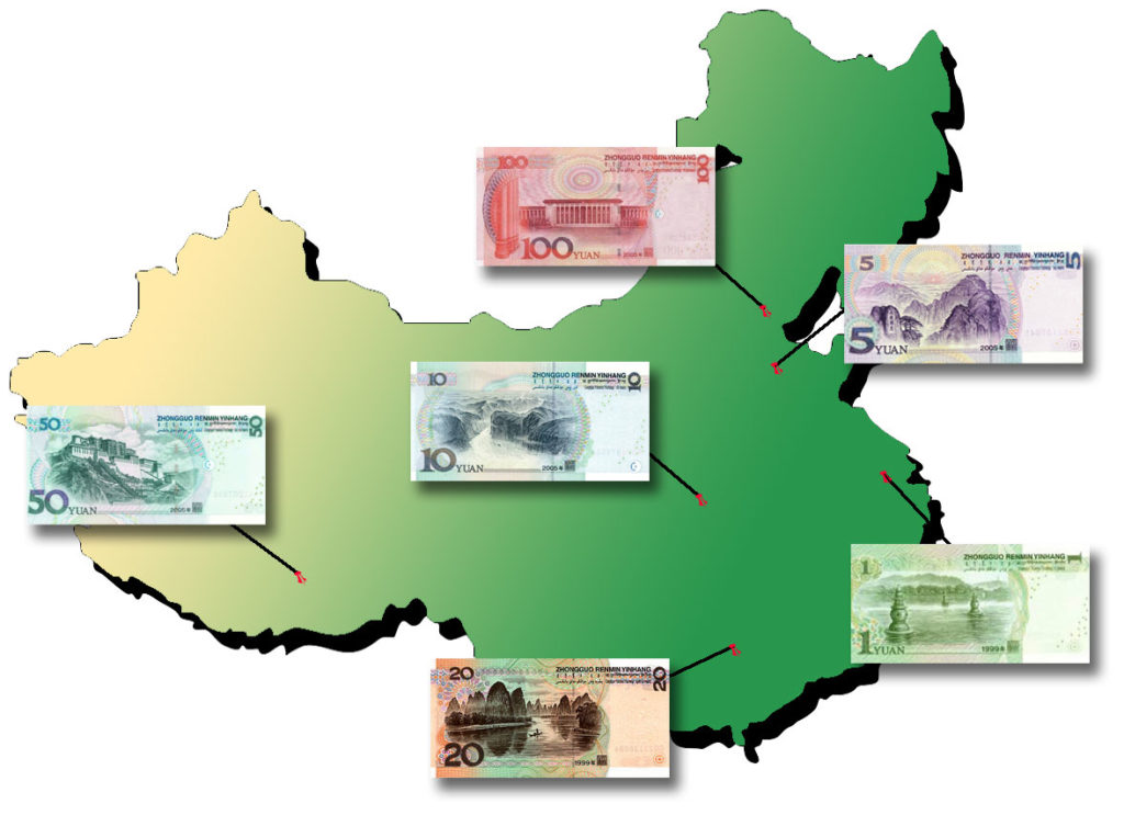 China's Bank Note Scenes map