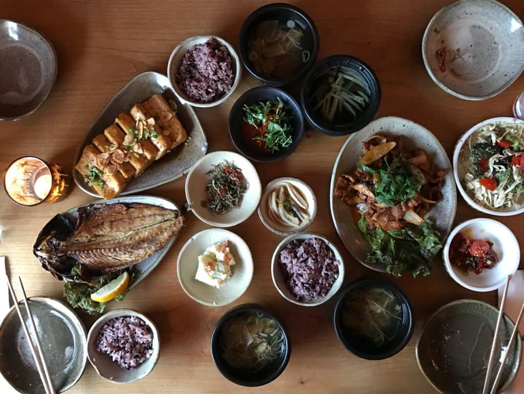 Dinner spread at Parc restaurant