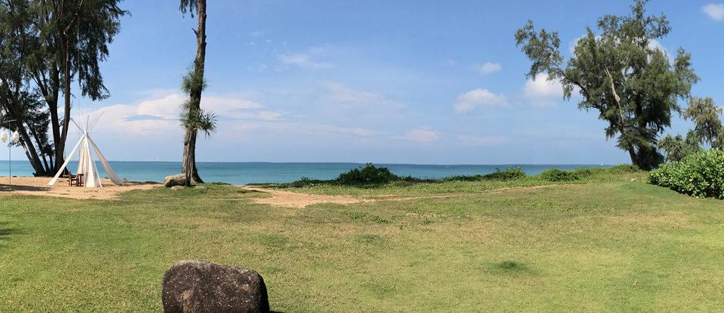 pano view of Mai Khao beach at JW