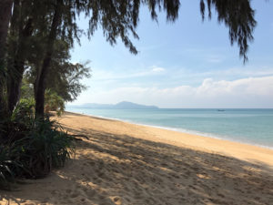 Looking south down the beach at Mai Khao