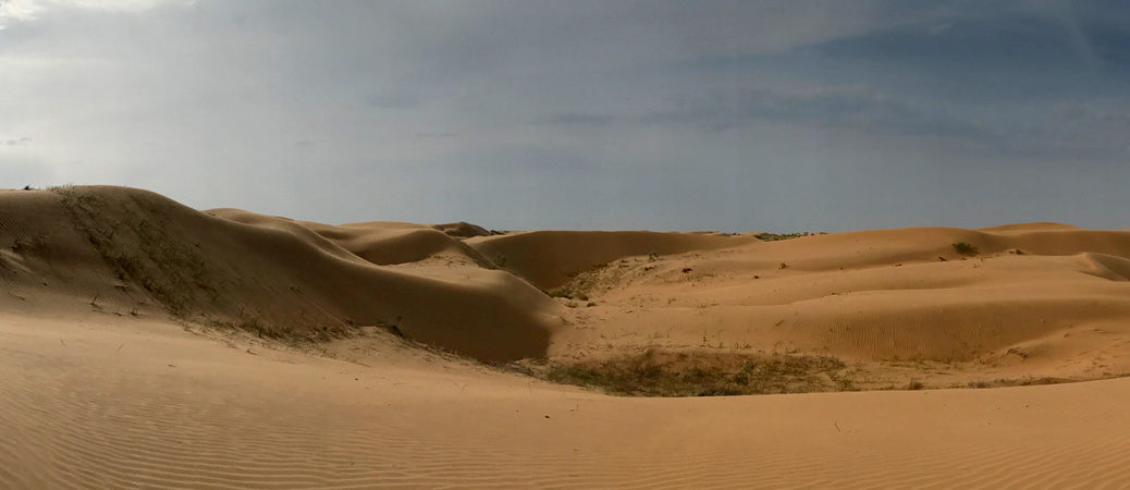 Wide shot of sand dunes